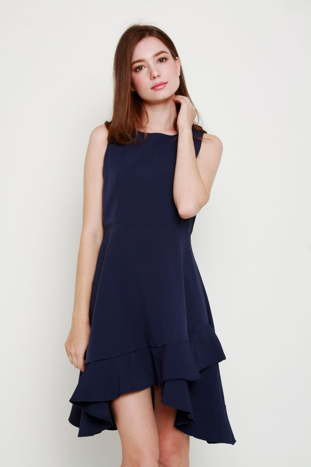Anastasia Ruffle Dress In Navy