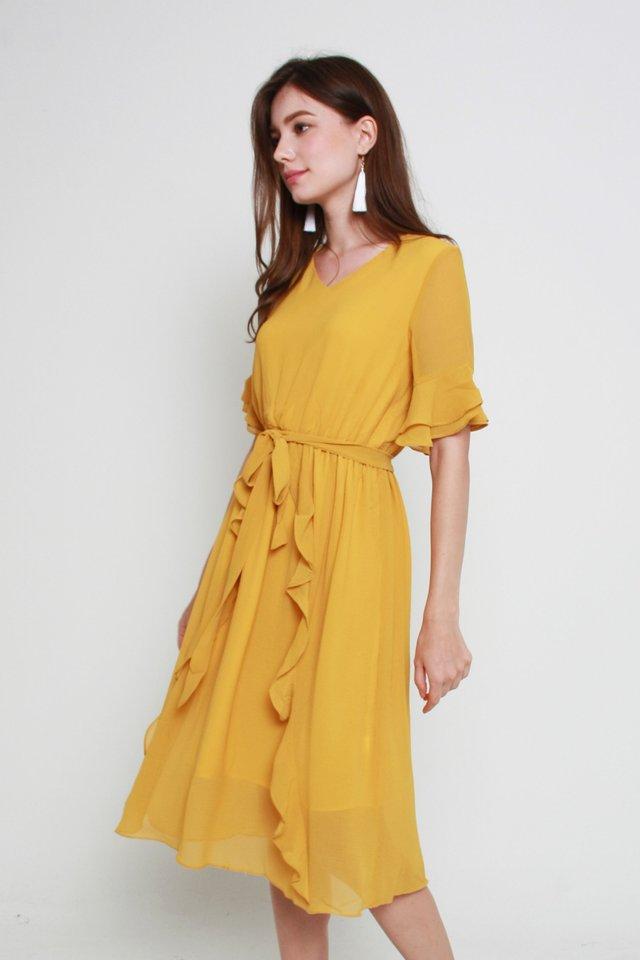 Kassidy Ruffled Dress In Mustard