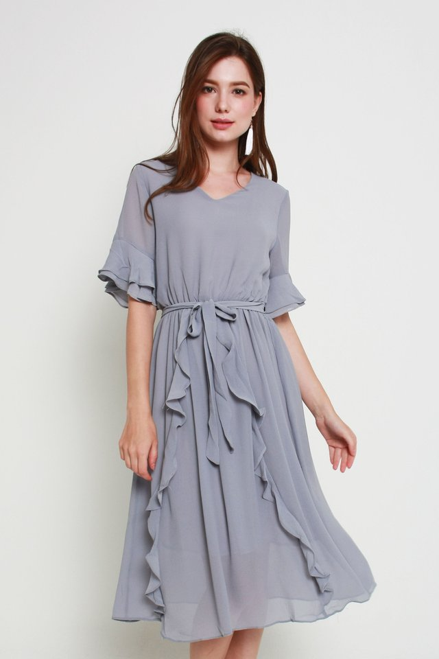 Kassidy Ruffled Dress In Grey