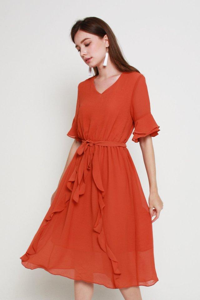 Kassidy Ruffled Dress In Burnt Brick (M size)