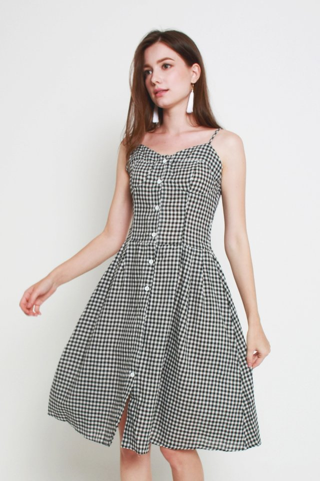 Leighton Checkered Dress In Black