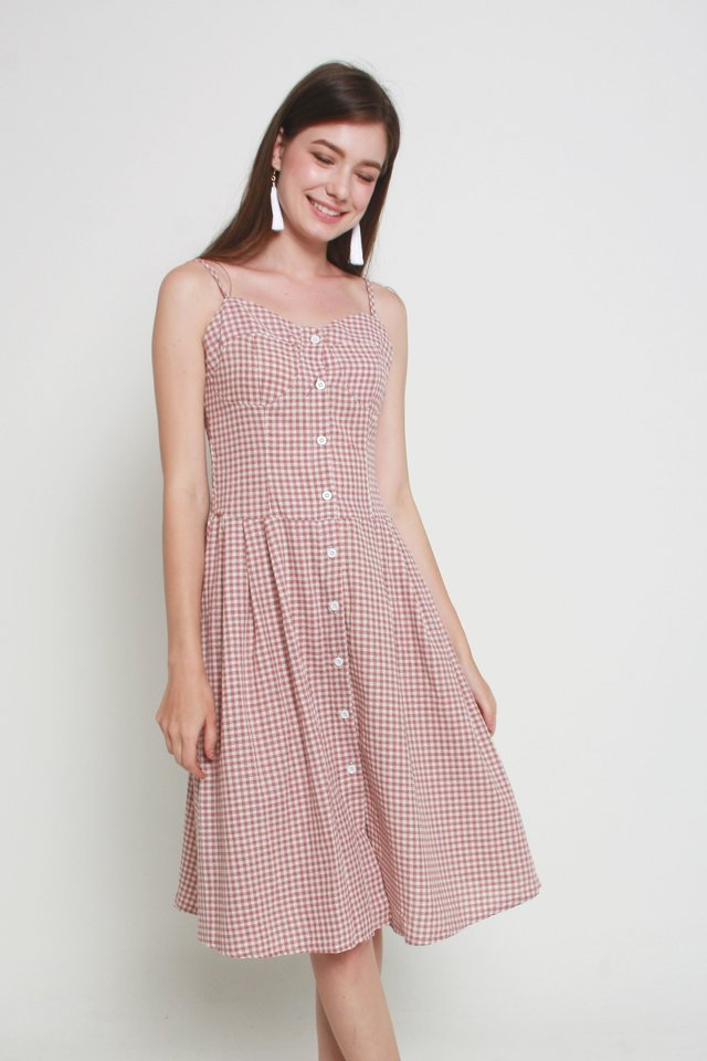Leighton Checkered Dress In Red