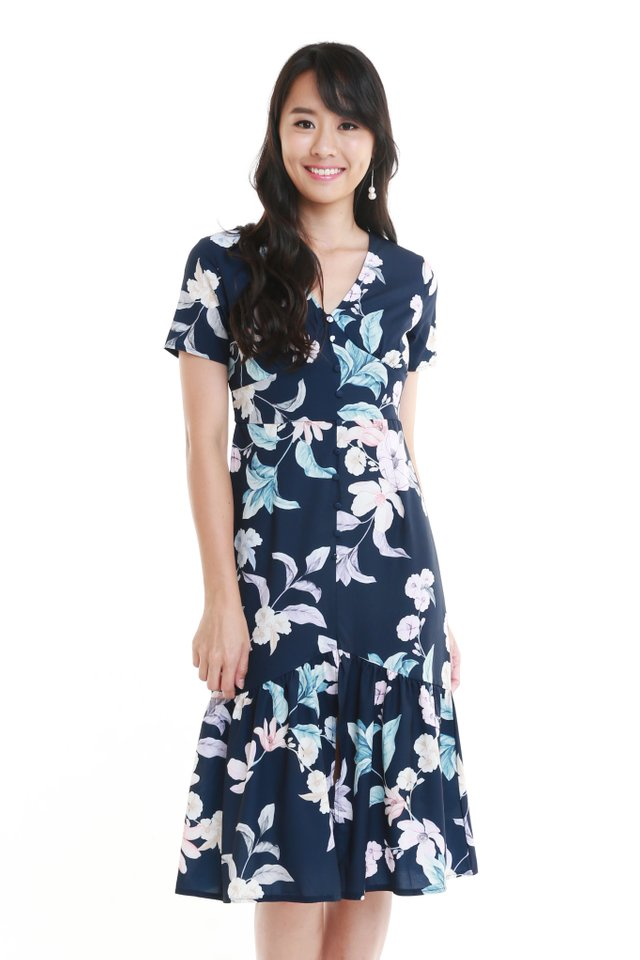 Niara Floral Dress In Navy