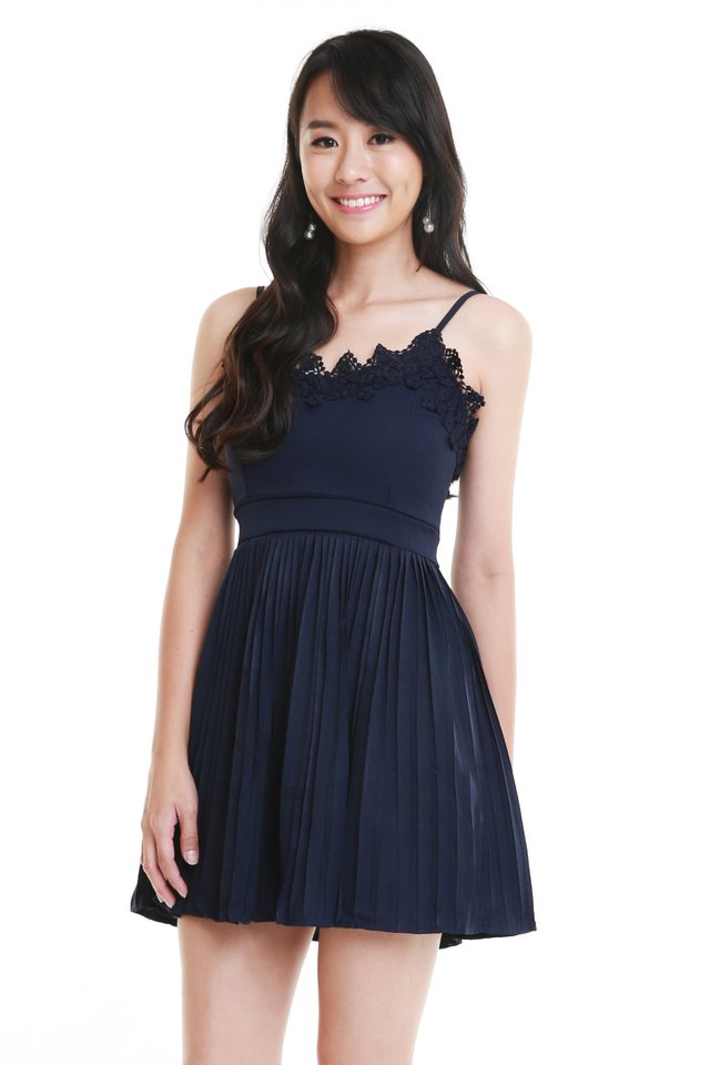Valentina Pleated Dress In Navy