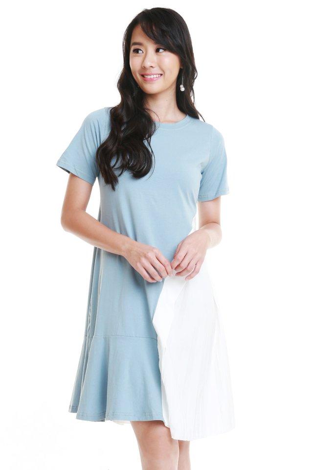 Ariella Side Pleat Dress In Blue