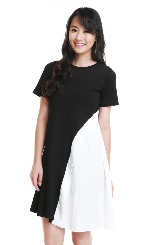 Ariella Side Pleat Dress In Black