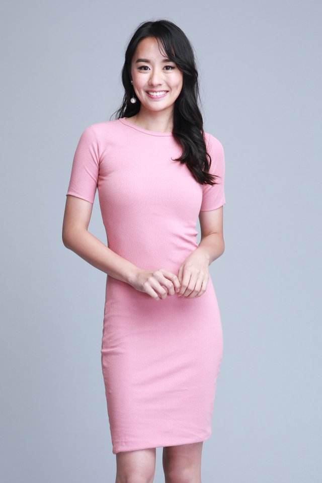 Velda Knit Dress in Pink