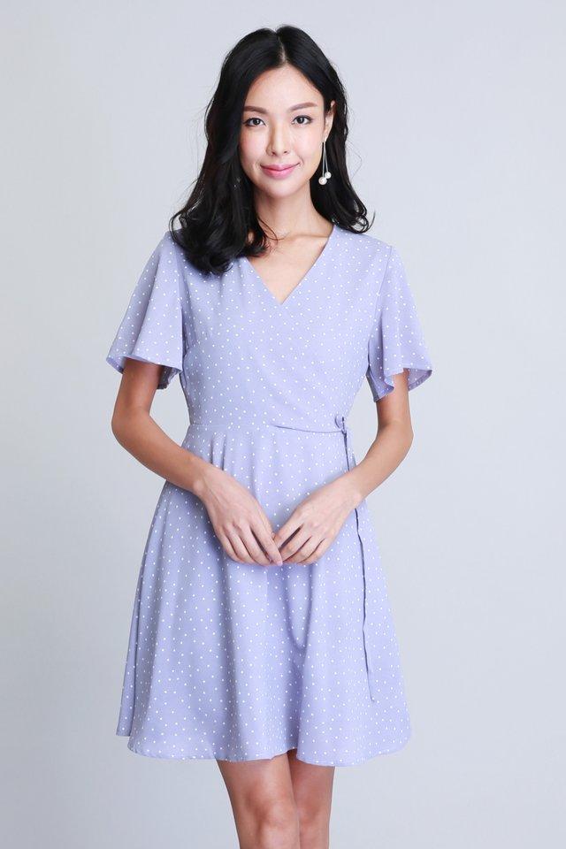 Polka Dot Wrap Dress in Purple