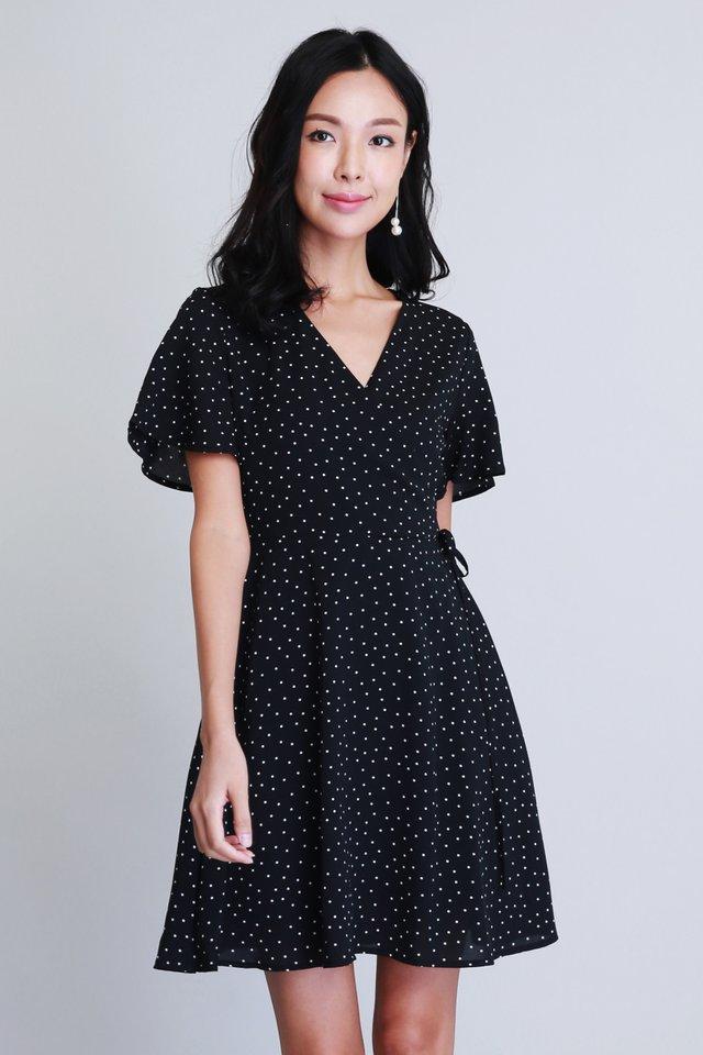 Polka Dot Wrap Dress in Black