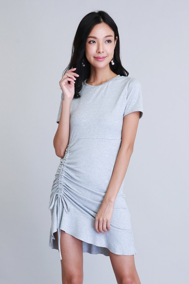 Phoebe Ruched Dress in Grey