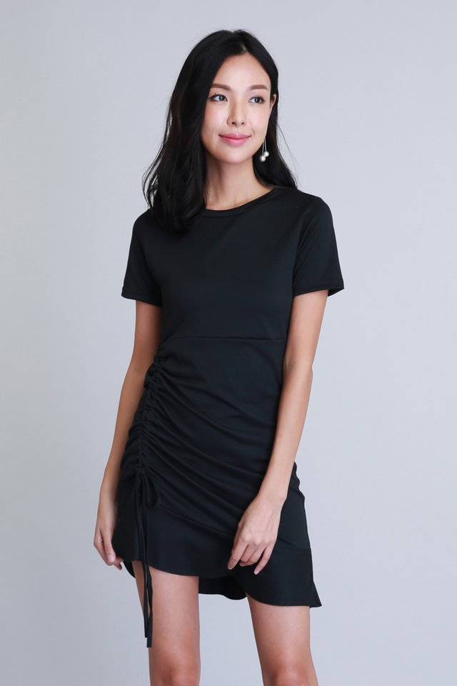 Phoebe Ruched Dress in Black