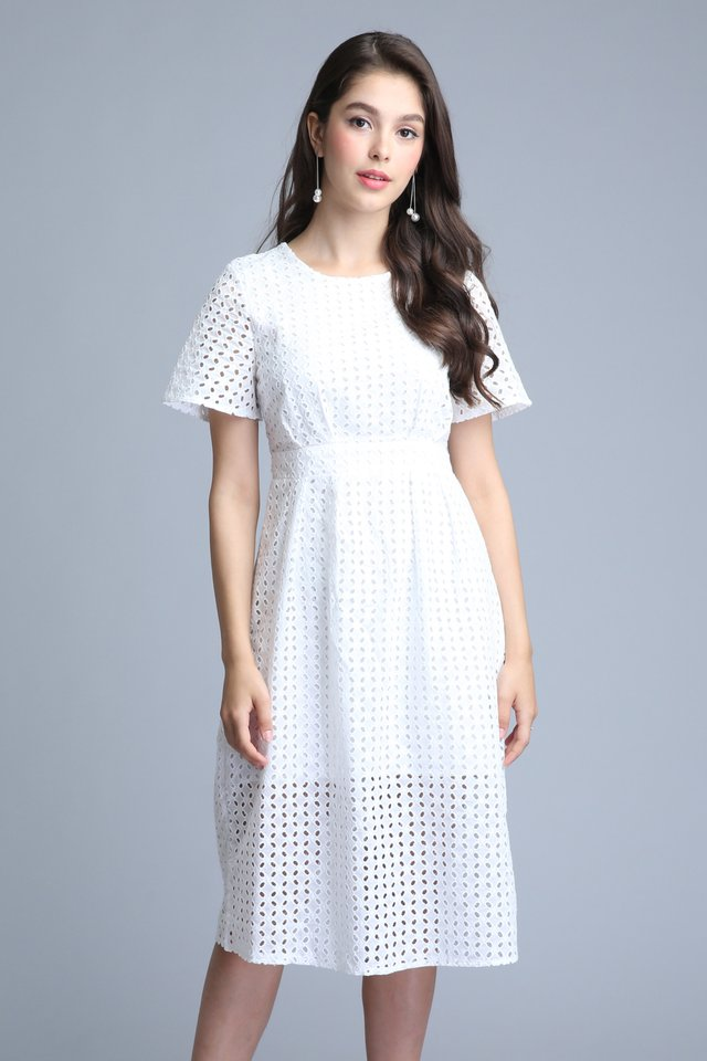 Faith Midi Dress in White
