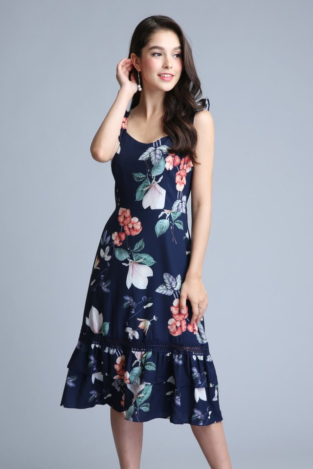Pearlyn Floral Crochet Dress in Navy