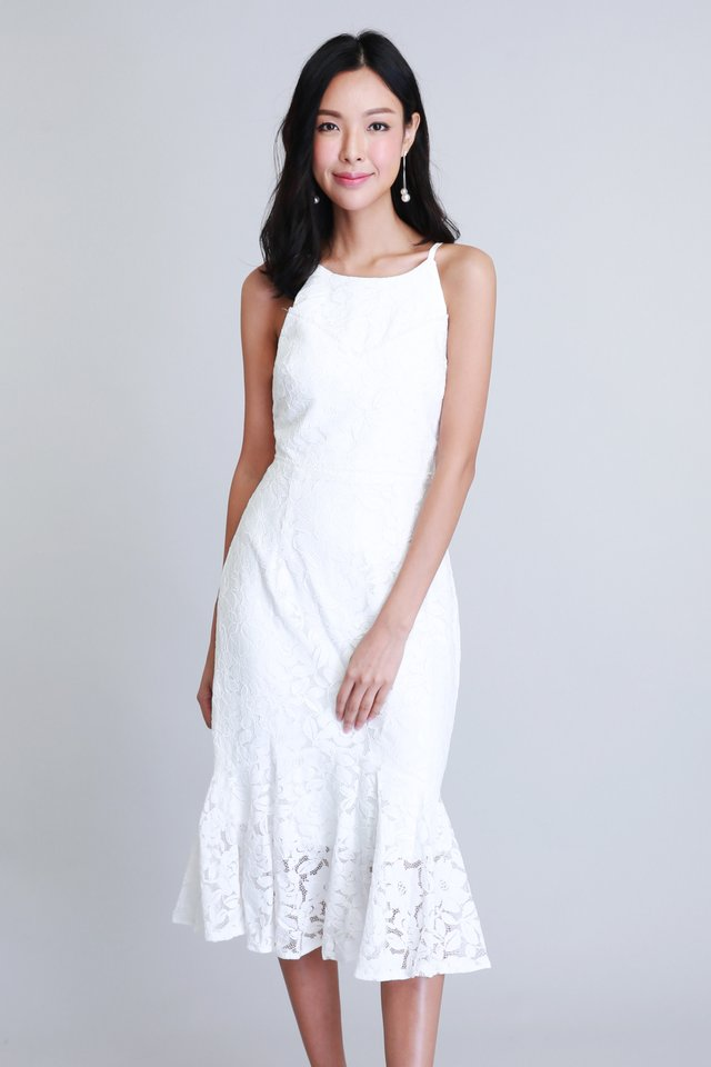 Merriment Lace Dress In White