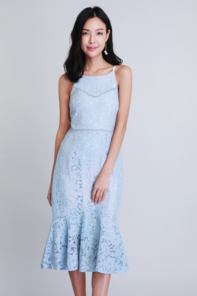 Merriment Lace Dress In Blue