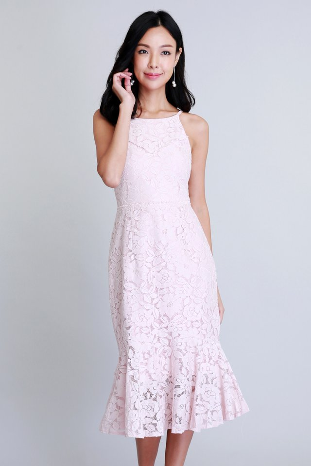 Merriment Lace Dress In Pink