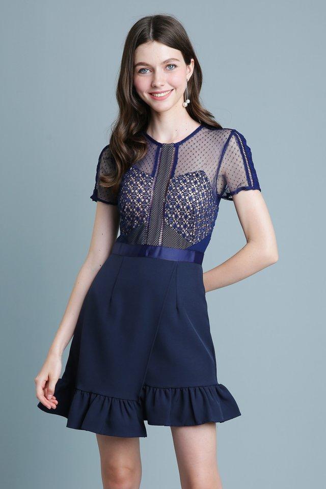 Belle Lace Dress in Navy