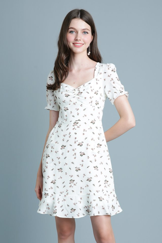 Floral Meteor Dress In Cream
