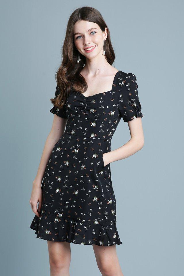 Floral Meteor Dress In Black